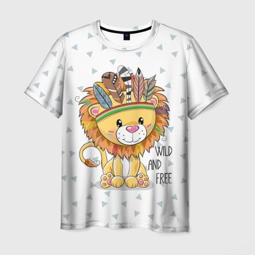 Мужская футболка 3D Wild and free. lion.