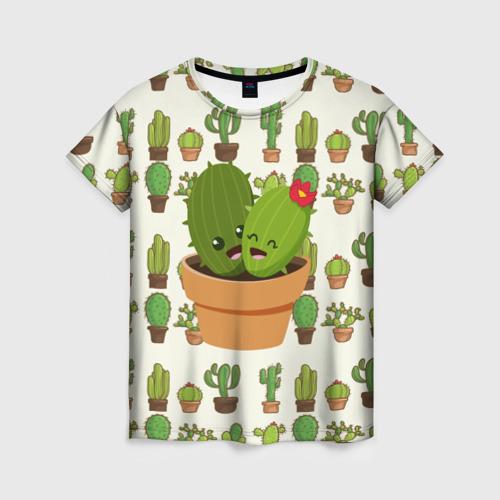 Женская футболка 3D Прикольные кактусы