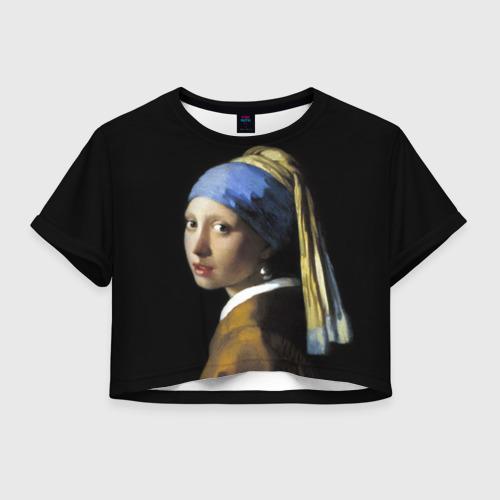 Женская футболка Crop-top 3D Девушка с серьгой