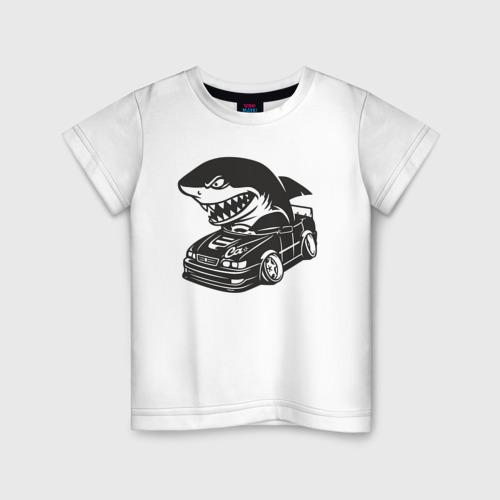 Детская футболка хлопок Акула в чайзере, toyota chaser