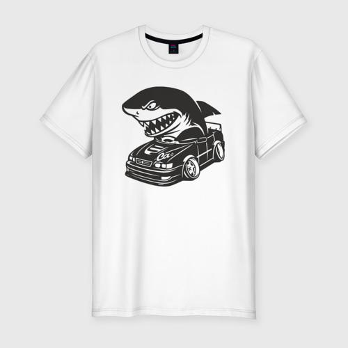 Мужская футболка хлопок Slim Акула в чайзере, toyota chaser