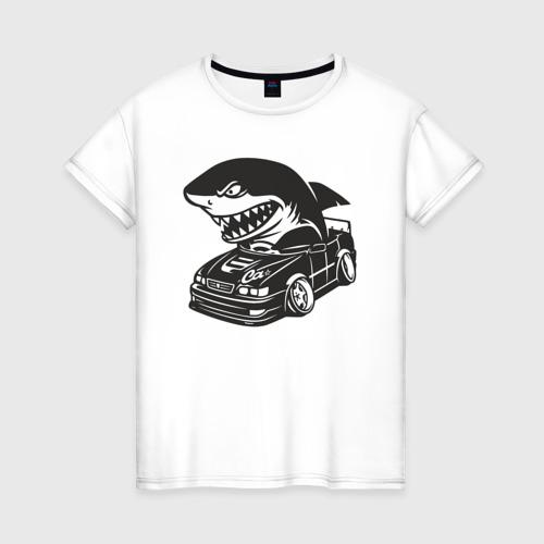 Женская футболка хлопок Акула в чайзере, toyota chaser