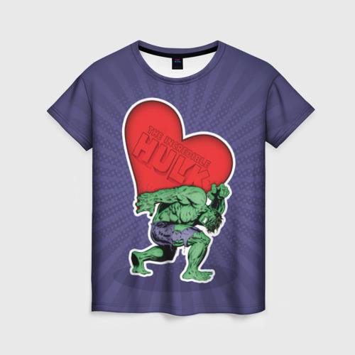 Женская футболка 3D Hulk love