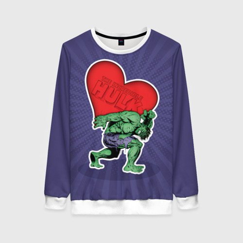 Женский свитшот 3D Hulk love