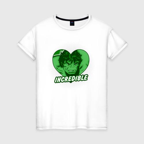 Женская футболка хлопок Hulk incredible heart