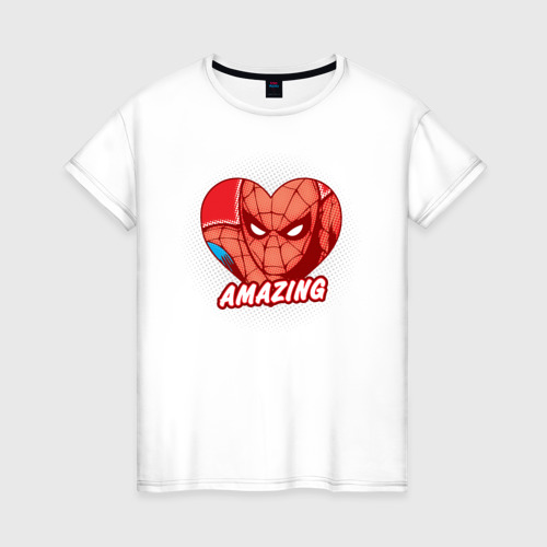 Женская футболка хлопок Spider-Man amazing heart
