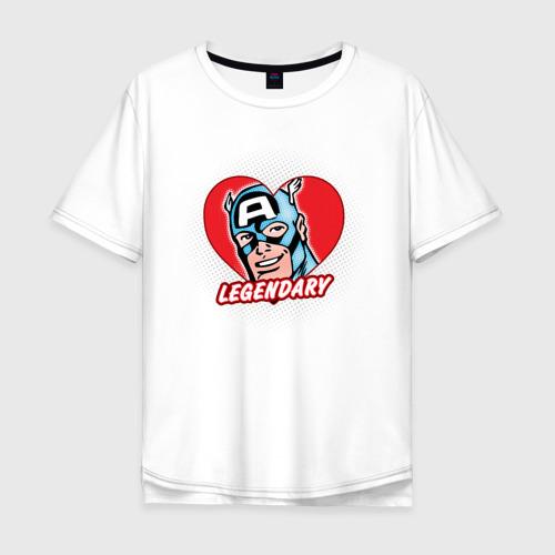 Мужская футболка хлопок Oversize Capt. America legendary heart