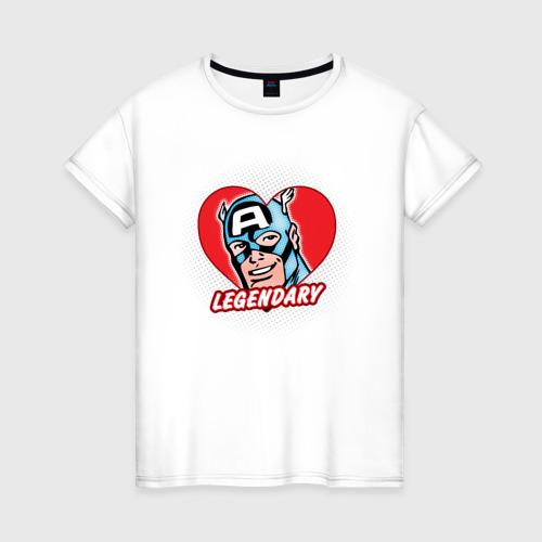 Женская футболка хлопок Capt. America legendary heart