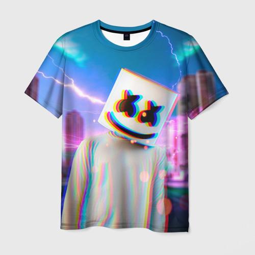 Мужская футболка 3D Marshmello Glitch