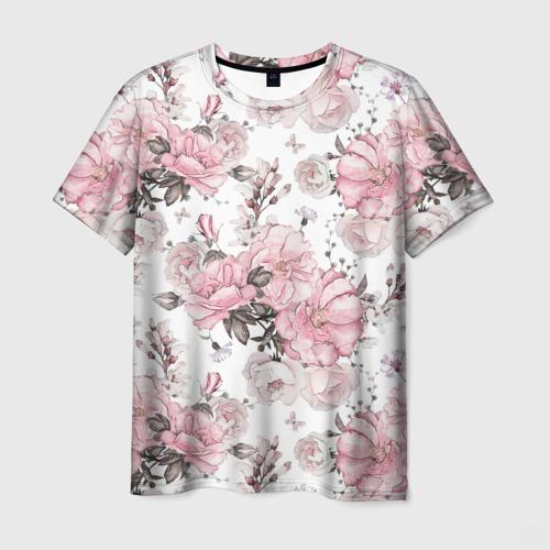 Мужская футболка 3D Розовые розы