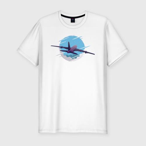 Мужская футболка хлопок Slim Самолет