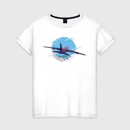 Женская футболка хлопок Самолет