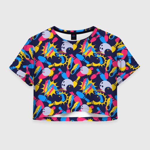 Женская футболка Crop-top 3D Боулинг
