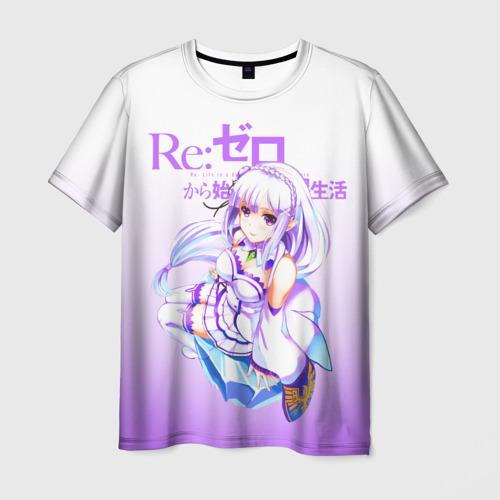Мужская футболка 3D Re:Zero. Эмилия