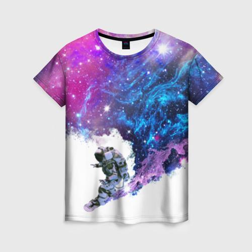 Женская футболка 3D Космический сноуборд