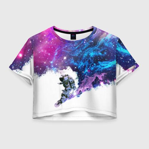 Женская футболка Crop-top 3D Космический сноуборд