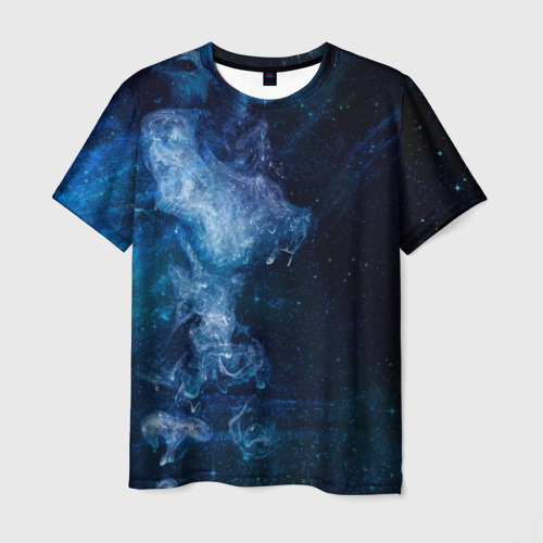 Мужская футболка 3D Синий космос
