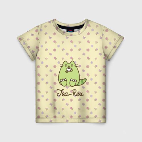 Детская футболка 3D Pusheen Tea-Rex