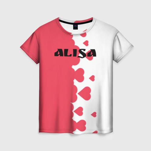 Женская футболка 3D Алиса сердечки