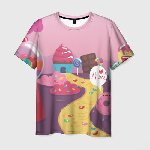 Мужская футболка 3D Алиса Сладкая страна