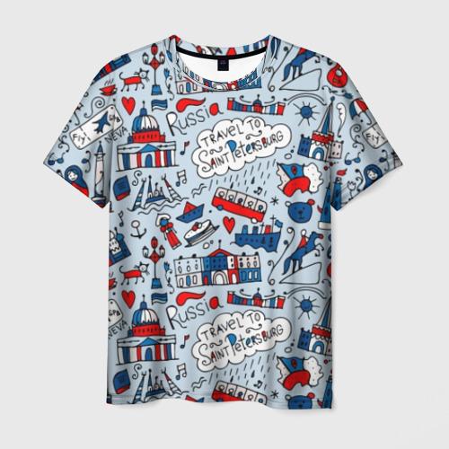 Мужская футболка 3D Travel to Saint Petersburg