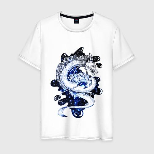 Мужская футболка хлопок Звезды и дракон Хаку