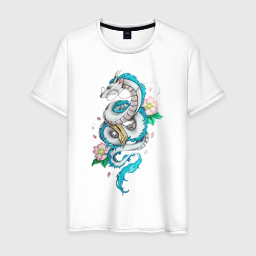 Мужская футболка хлопок Дракон Хаку в цветах