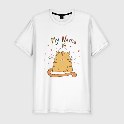 Мужская футболка хлопок Slim Меня зовут Котик