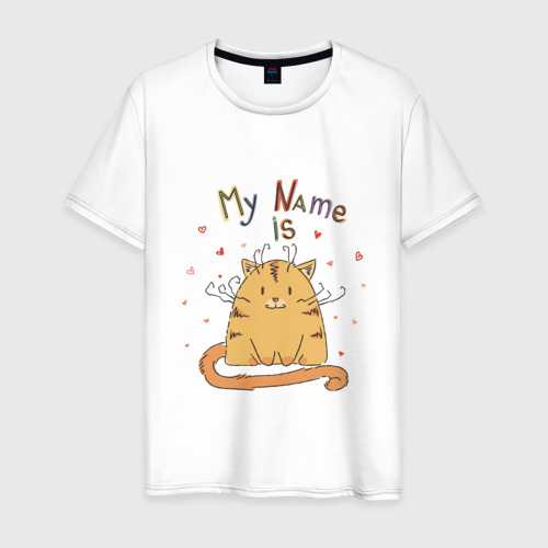 Мужская футболка хлопок Меня зовут Котик