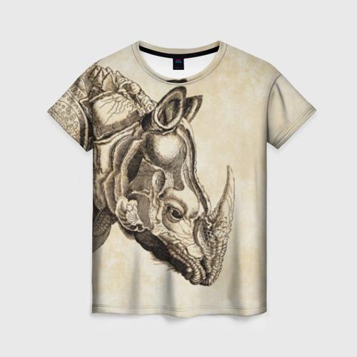 Женская футболка 3D Носорог (гравюра Дюрера)