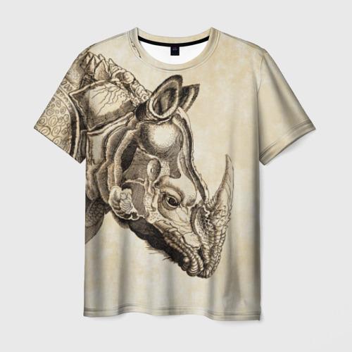 Мужская футболка 3D Носорог (гравюра Дюрера)