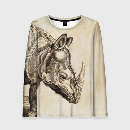 Женский лонгслив 3D Носорог (гравюра Дюрера)