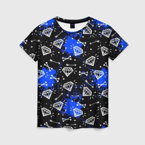 Женская футболка 3D Алмазы и стрелы