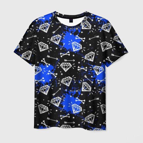 Мужская футболка 3D Алмазы и стрелы