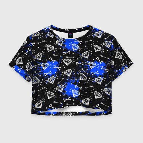 Женская футболка Crop-top 3D Алмазы и стрелы