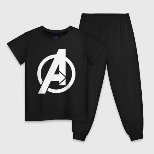 Детская пижама хлопок Avengers logo white