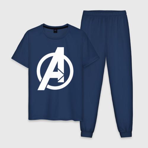 Мужская пижама хлопок Avengers logo white