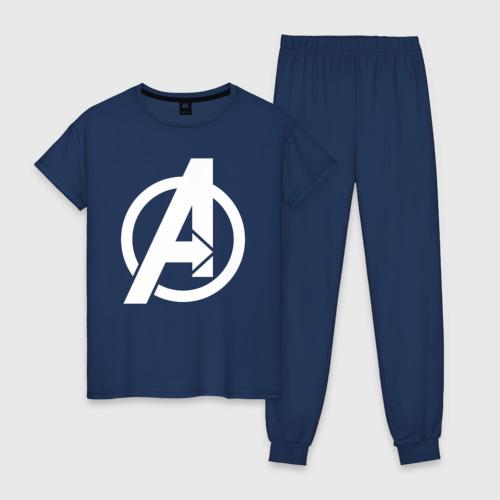 Женская пижама хлопок Avengers logo white
