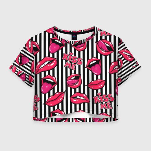 Женская футболка Crop-top 3D Kiss Me