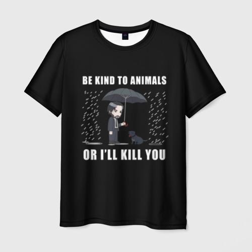 Мужская футболка 3D Be Kind to Animals