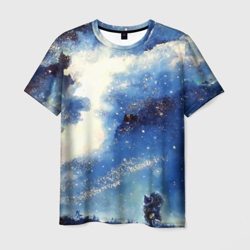 Мужская футболка 3D Ёжик в космосе