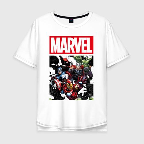 Мужская футболка хлопок Oversize Avengers glitch