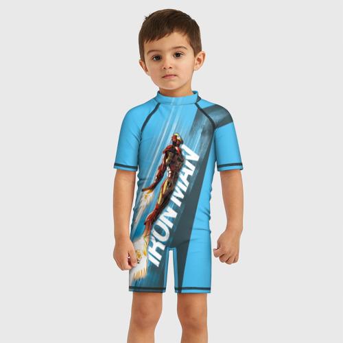 Детский купальный костюм 3D Iron Man comics