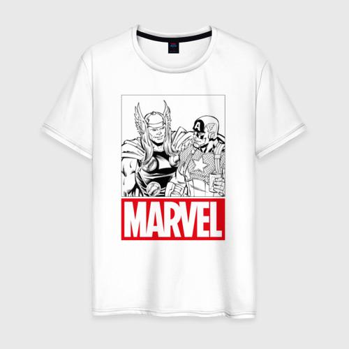 Мужская футболка хлопок Thor & Captain America comics
