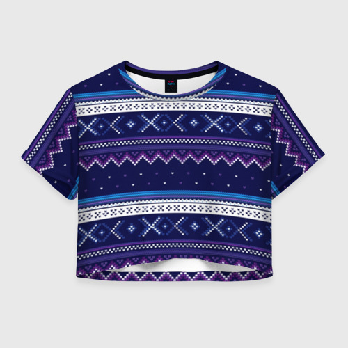 Женская футболка Crop-top 3D Яркий узор 2