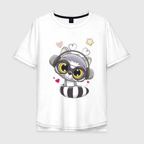 Мужская футболка хлопок Oversize Енот меломан