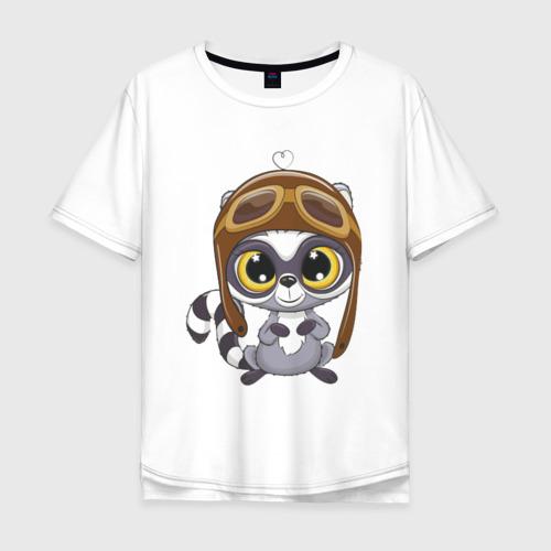 Мужская футболка хлопок Oversize Енот летчик