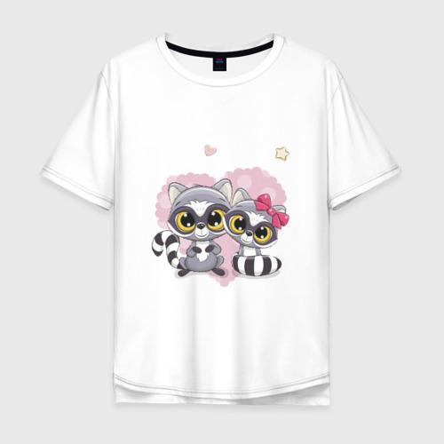 Мужская футболка хлопок Oversize Милые еноты