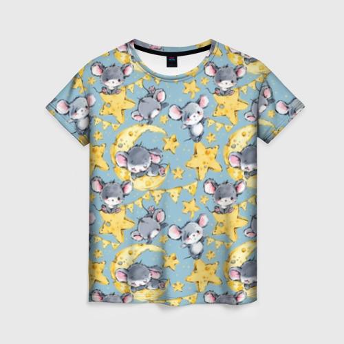 Женская футболка 3D Сыр и мыши