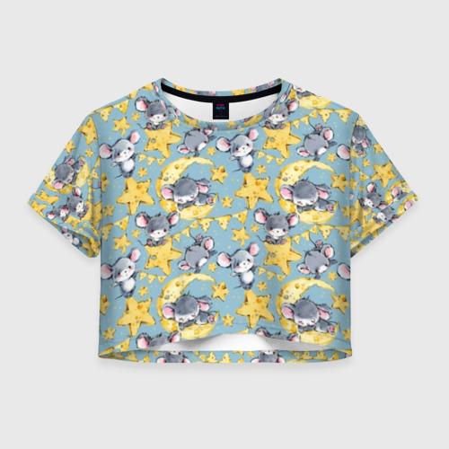 Женская футболка Crop-top 3D Сыр и мыши